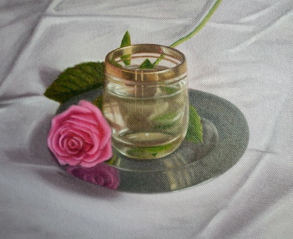 Pink rose & glass