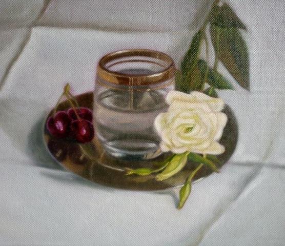 White flower & cherries
