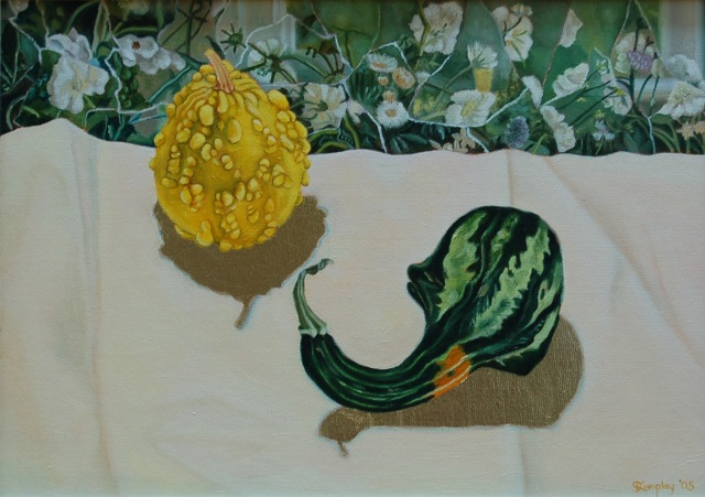 Gourds with white flowers