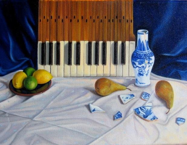 Piano keys, vase & pears