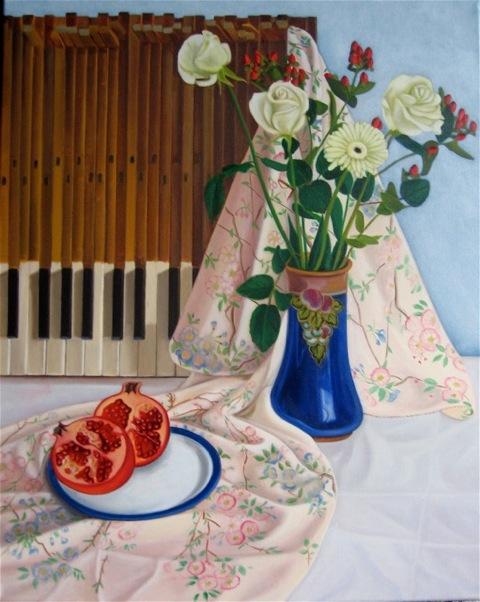 White roses, piano keys & pommegranate