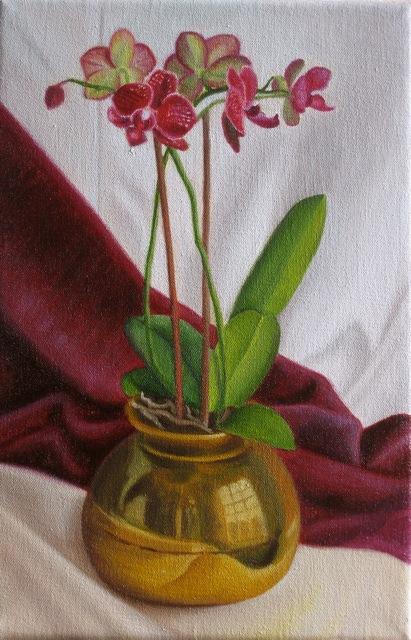 Orchid & brass pot
