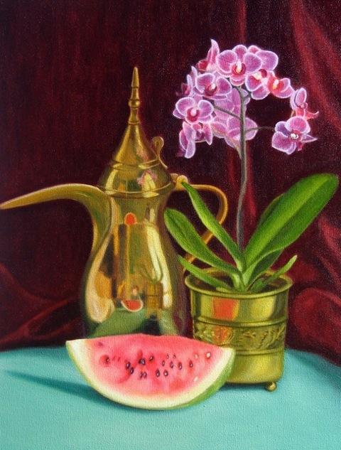 Bahrain coffee pot, orchid & melon