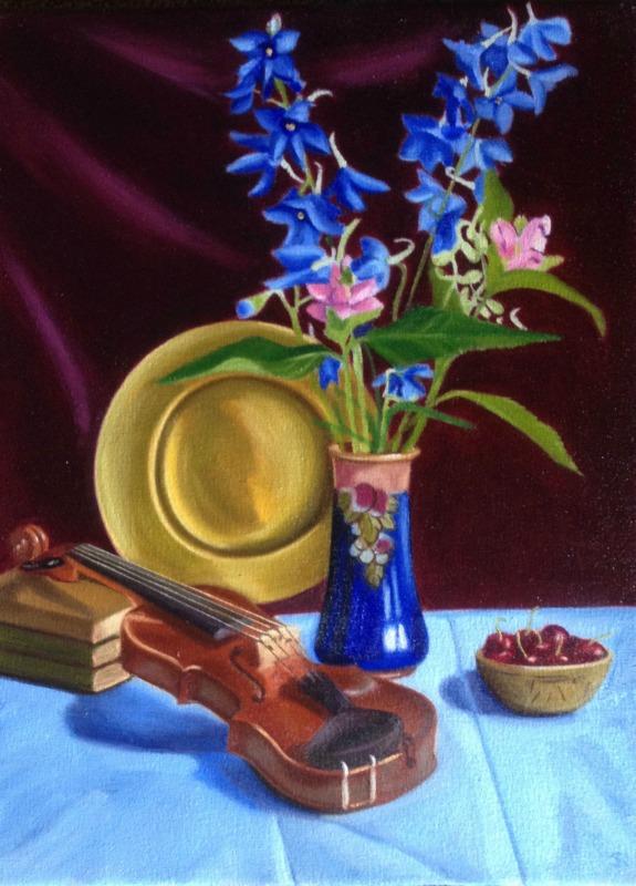 Violin & Blue Flowers