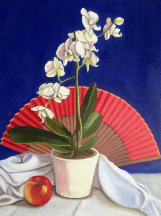 White Orchid & Red Fan