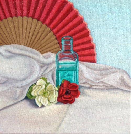 Red Fan & Bottle