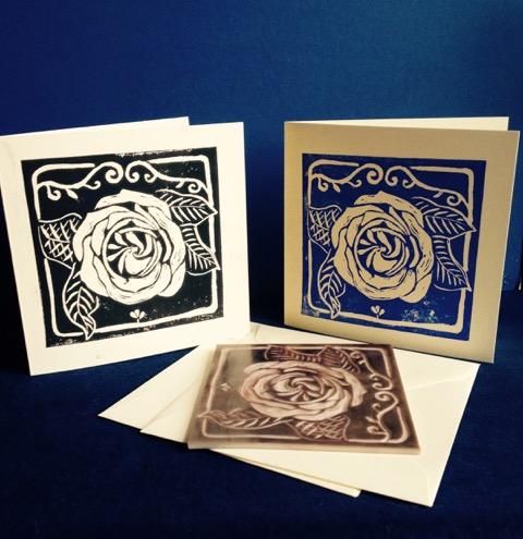 Rose print cards